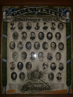 Die Tafel der Gefallenen und Vermissten in der Heidenfelder Kirche